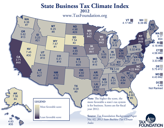Business tax rankings for all 50 states