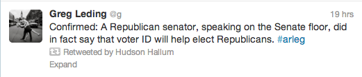 Rep. Greg Leding's tweet, retweeted by the infamous former Rep. Hudson Hallum.