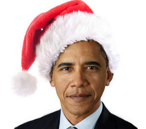 Obama santa hat