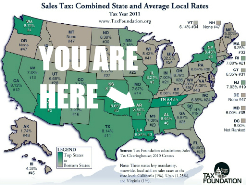 Tax Foundation state and local sales tax map