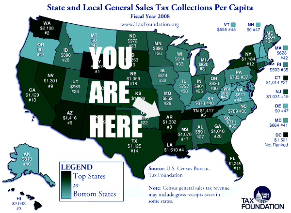 Arkansas is #8 for sales tax collections
